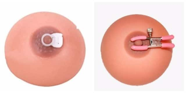 Different nipple clamps for inverted nipple correction